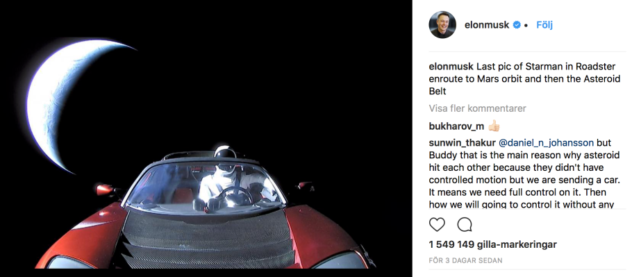 Last pic of Starman in Roadster enroute to Mars orbit and then the Asteroid Belt - Elon Musk